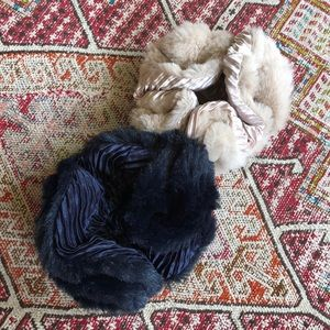 2 Anthropologie Fur and Satin Scrunchies